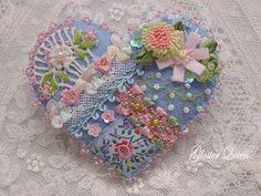 Crazy quilt heart - blue