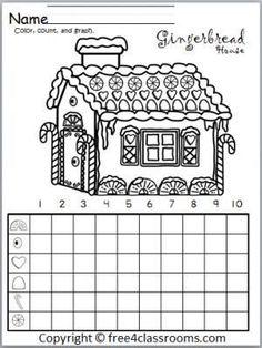 Christmas Math Activities: Free Gingerbread House Graph. Fun winter and Christmas math activity.