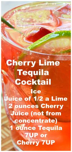 Cherry Lime Tequila Cocktail ~ Simple and refreshing.