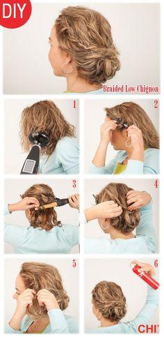steps to create Jennifer's Lawrence's braided chignon    followpics.co