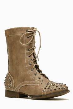 Bamboo Spiked Studded Taupe Combat Boots