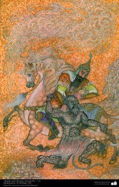 Islamic Art - Persian Miniature - Battle between Rostam and Aryang Div