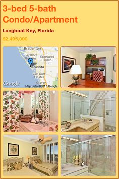 3-bed 5-bath Condo/Apartment in Longboat Key, Florida ►$2,495,000 #PropertyForSale #RealEstate #Florida http://florida-magic.com/properties/8690-condo-apartment-for-sale-in-longboat-key-florida-with-3-bedroom-5-bathroom