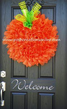 Pumpkin Spiral Curly Q Wreath, Fall Decor, Halloween Wreath, Pumpkin Wreath, Mesh Wreath, Fall Decor, Halloween Decor, Thanksgiving Wreath