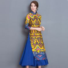 Yellow Vietnam Ao Dai Chinese Traditional Dress Chinese Dress Qipao Long Chinese Cheongsam Dress Robe Chinoise Modern Cheongsam