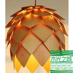 Aliexpress.com: Comprar Envío libre ! 2014 últimos colgantes de diseño de madera contrachapada , madera y chapa de madera de la lámpara , lámpara de piña hecha por la iluminación deco oaklamp de lámpara de goma laca fiable proveedores en Oaklamp Deco Lighting