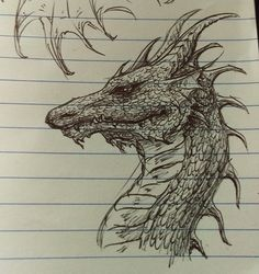 Dragon. Ball-point pen on legal pad. Art by Brooke Scovil.