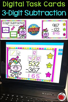 Boom Cards are great for distance learning. Let your students practice 3 digit subtraction with these 40 digital task cards. The deck includes sets for regrouping and no regrouping. Students can practice multi digit subtraction anywhere they have access to internet: at home learning, on a trip, or at school. The self correcting task cards give students immediate feedback and require no prep for the teacher. Great for online or digital teaching. #boomcards #digitaltaskcards #distancelearning Kindergarten Math Games, Fun Math, Math Activities, Classroom Resources, Math Classroom, Teaching Resources, Teaching Ideas, Classroom Solutions, Fraction Games