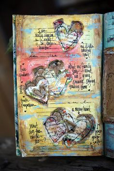 Hearts mixed media journal, mixed media collage, collage art, art journal pages, Art Journal Pages, Art Journals, Mixed Media Journal, Mixed Media Art, Altered Books, Altered Art, Book Art, Art Doodle, Scrapbooking