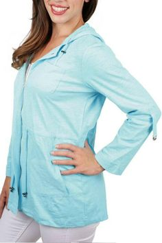 Comfortable light weight jacket with hood. Just right for a windy day. Zippered jacket has a draw string waist and four pockets on front.  Drawstring Lightweight Jacket by Ethyl. Clothing - Jackets Coats & Blazers Tennessee