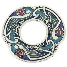 Blue Enamel & Gold Celtic Birds Brooch