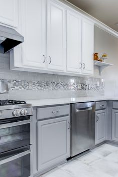 Brought this kitchen up to date by painting the existing cabinets white on top and a dark grey on the bottom, install new Caesarstone quartz countertops, Arizona Tile ceramic backsplash, and a marble liner to tie it all together! White Kitchen Backsplash, Kitchen Redo, Kitchen Tiles, Kitchen Countertops, New Kitchen, Quartz Countertops, Backsplash Ideas, Backsplash Tile, Paint Countertops