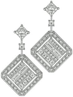 Broadway Earrings from CafeSociety - Chanel Fine Jewelry collection in white gold set with 74 brilliant cut cts), 2 princess cut diamonds cts), 10 square cut diamonds and 4 baguette cut diamonds - July 2014 Chanel Jewelry, Pandora Jewelry, Wholesale Silver Jewelry, Kate Middleton, High Jewelry, Steel Jewelry, Princess Cut Diamonds, Diamond Cuts, Rough Diamond