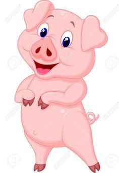 Cute pig cartoon posing  Stock Vector