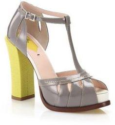 Fendi Chameleon Patent & Embossed Leather T-Strap Sandals