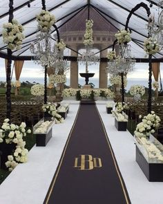 Outdoor wedding aisle runner wedding runner ideas wedding aisle runner ideas under wedding vases beach wedding Wedding Ceremony Ideas, Ceremony Decorations, Wedding Themes, Wedding Colors, Wedding Flowers, Black Wedding Decor, Wedding Dresses, Black And White Wedding Theme, Wedding Vases