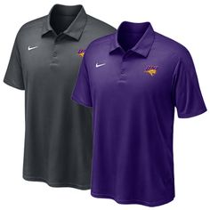 Nike purple or anthracite dri-fit polo with three buttons and UNI logo on left chest. $54.99