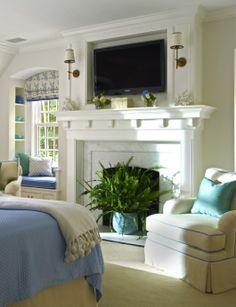 House of Turquoise: Lynn Morgan Design Tv Over Fireplace, Bedroom Fireplace, Fireplace Ideas, Fireplace Mantle, White Fireplace, Fireplace Design, Fireplace Moulding, White Mantle, Mantle Ideas