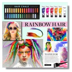 """#rainbowhair"" by hellodollface ❤ liked on Polyvore featuring beauty and rainbowhair"