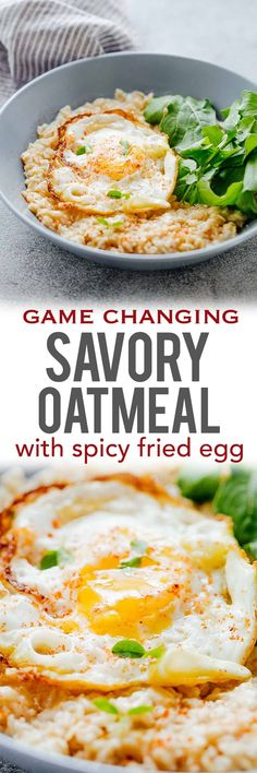 These savory garlic oats with a masala fried egg are healthy, delicious and a great way to switch up breakfast when you are bored of regular sweet oatmeal. The runny yolk adds a gorgeous creaminess and the crispy edges add crunch. Make it a breakfast salad bowl with mixed greens or toss it up with some spices for a really satisfying breakfast.