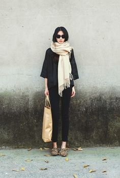 scarf, sunglasses, poncho, skinnies, bag, shoes, her skinny frame