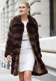 Ivory Mink Couture Knee-Length Faux Fur Coat | Coats Mink and