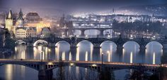 Bridges over vltava at night, Prague by Andreas Zachmann - Photo 83927365 - 500px