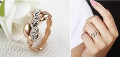 18K Rose Gold Plated With Austrian Crystal Stellux Wheat Series Ring | Stylish Beth