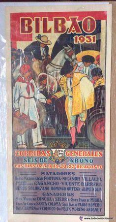 PINTOR ANTONIO DE GUEZALA ,CARTEL ORIGINAL DE TOROS DE LA PLAZA DE BILBAO AÑO DE 1931-43X21CM - Foto 1