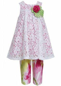 Bonnie Jean Little Girls 2T-6X Pink//Green Flower Applique Dress-Legging Set