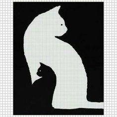 Zählmuster 2 in 1 kleine in großer Katze in schwarz/weiß