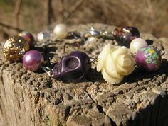 ON SALE Day of the Dead Wedding Bracelet Rosary Style Vintage New Beads  #donnaelizabethdesign