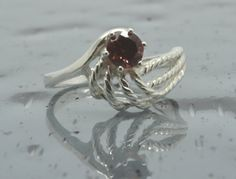 925 Red Garnet Ring/Sterling Silver/Solitaire by SouthernGemstones