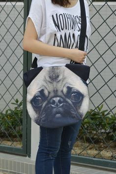 Pug cross body Pug tote bag pug lover tote dog print by BENWINEWIN, $35.90