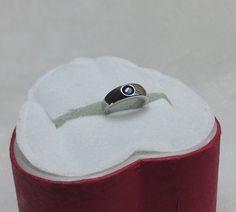 Baby Taufring 925 Silber mit blauem Kristall Geschenk von myduttel