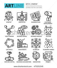 Modern editable vector line icons set of start up project, business strategy and…