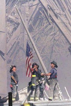 NYC. Manhattan. Raising the Flag at Ground Zero