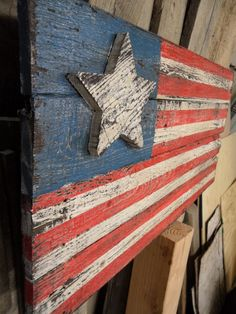 Americana flag, barnwood flag, distressed flag, old west decor, primitive flag, wall decor. $49.99, via Etsy.