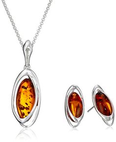 """Sterling Silver Amber Oval Stud Earrings and Chain Pendant Necklace Jewelry Set, 18"""". The image may show slight differences in texture, color, size and shape. Stones are heat and pressure treated. The natural properties and process of amber formation define the unique beauty of each piece. May be washed with warm water and soap. Imported."""