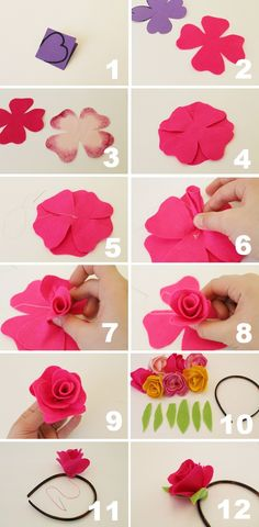 "Now that's pretty: DIY Fabric Flower Crown ""I've loved making Cinco de Mayo crafts; they're just so wonderfully colourful and can't fail to make you happy. Felt Flowers, Diy Flowers, Fabric Flowers, Paper Flowers, Felt Roses, Fabric Flower Headbands, Felt Diy, Felt Crafts, Fabric Crafts"