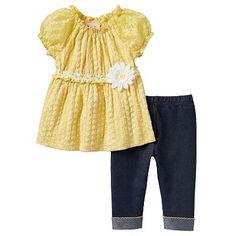 Little Lass Daisy Eyelet Tunic & Capri Jeggings Set - Baby Girl