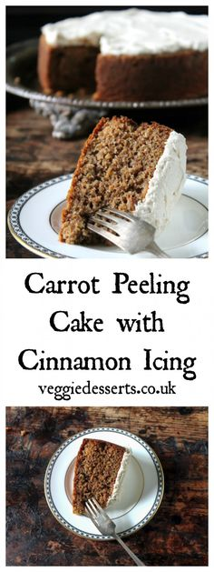 Carrot Peeling Cake with Cinnamon Icing | Reduce Food Waste | Veggie Desserts Blog  >>>> This carrot peeling cake uses just that – carrot peelings! It's a delicious way to reduce food waste. I've then topped the cake with a fragrant cinnamon icing. >>>>  Veggiedesserts.co.uk