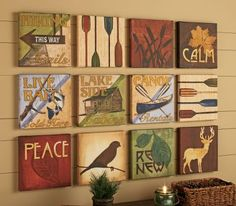 Cabela's 12-Piece Canvas Art Collection -- there are 3 collections, one is aqua/brown with animals & flowers
