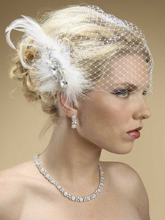 Lavish Swarovski Crystal & Pearl Feather Fascinator