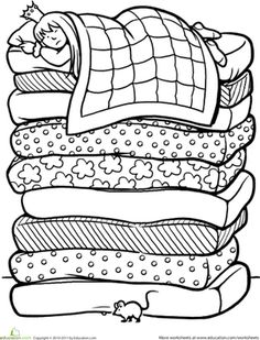 Color the Princess and the Pea Worksheet- Free- Could be used as a feeling or adjective activity: Cut out picture, glue on construction paper, add adjectives surrounding describing how you feel when you can't sleep