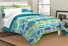 Lime Green Blue Purple Bubbles & Stripes Teen Girl Bedding Twin Full Queen King Modern Comforter Set