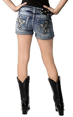 Miss Me Women s Embroidered Cross and White Leather with Crystals Open  Pocket Cuffed Denim Short Vermiss 36a5b8dc86