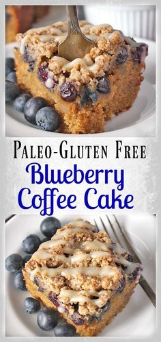 Paleo Blueberry Coffee Cake- gluten free, dairy free, and so delicious! Tender, moist, and full of fresh blueberries. The perfect breakfast or dessert.