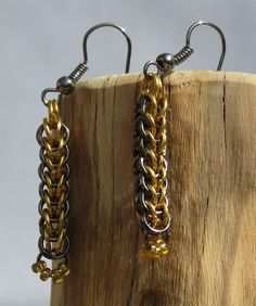 Handmade Gunmetal and Gold-Plated Chainmaille Full Persian Weave Earrings with Yellow Czech Glass Beads