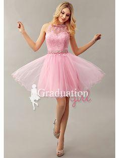 0d35050baae Girls Pink Cute Tulle Short A-Line Backless Graduation Dress - US  105.29 -